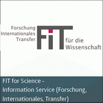 Logo des Informationsdienstes Forschung, Internationales, Transfer