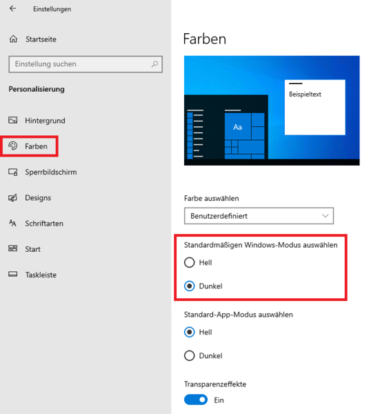 Windows Modus Einstellung