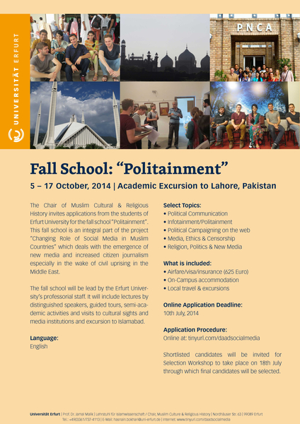 "Poster ""Fall School: Politainment"""